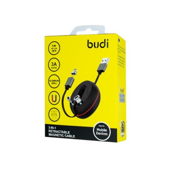 Выдвижной магнитный кабель 3в1 Budi (M8J517) 1 м, 3A