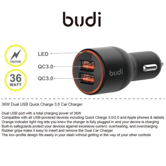 Автомобильное зарядное устройство Budi быстрая зарядка 36W/2USB (M8J109Q)