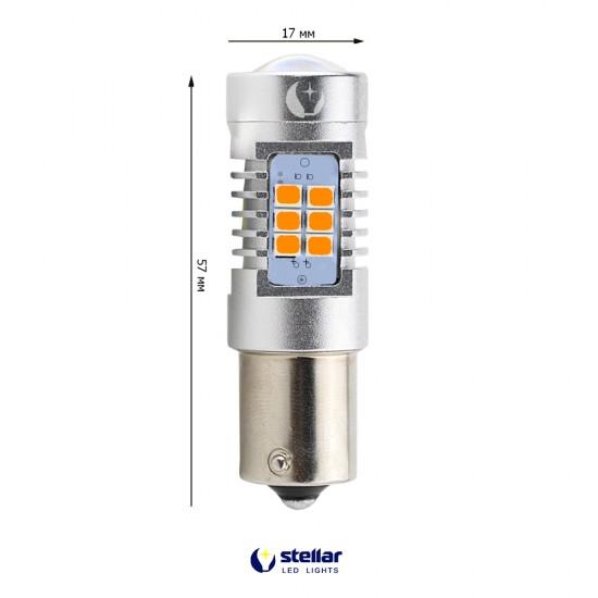 LED автолампа 4G21 STELLAR цоколь PY21W/1156 Amber желтый 150° (1 шт.)