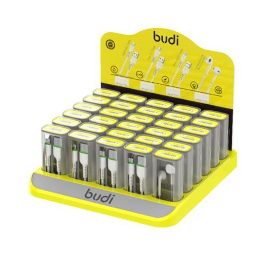 Набор кабелей и наушников в боксе Budi (M8J701) быстрая зарядка, USB + Lightning;  USB + Micro USB; USB + Type-C
