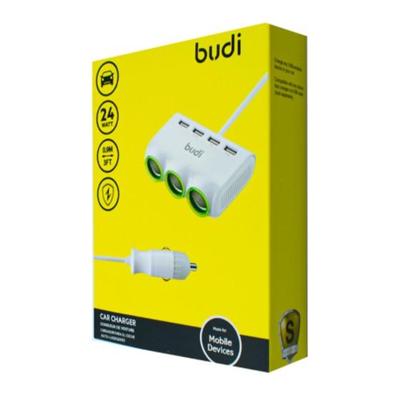 Автомобильное зарядное устройство Budi (M8J650) 4 USB + 3 розетки 1 метр кабель