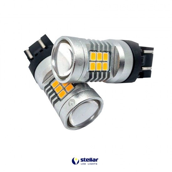 LED автолампа 4G21 STELLAR цоколь W21W/5W/7443 Amber желтый (1 шт.)