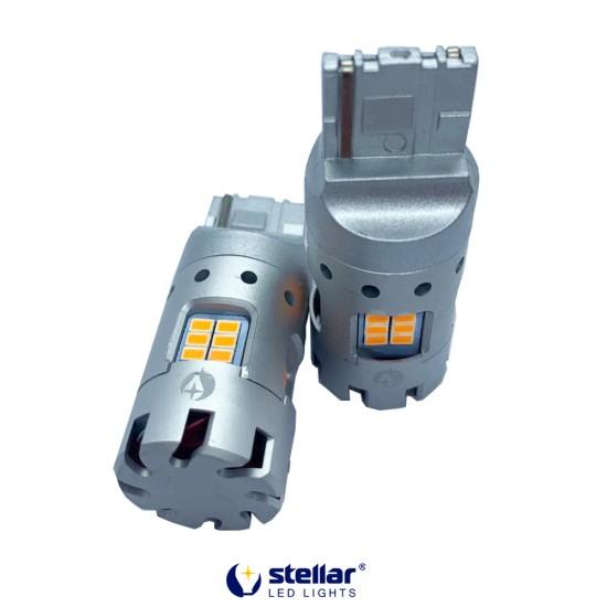 LED автолампа 8KG24F STELLAR цоколь W21W/7440 в поворот + резистор CAN BUS Amber желтый (1 шт.)
