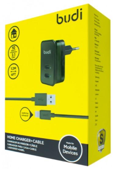 Зарядное устройство Budi (M8J053E) 2USB (Lightning USB, micro USB) + iphone cable