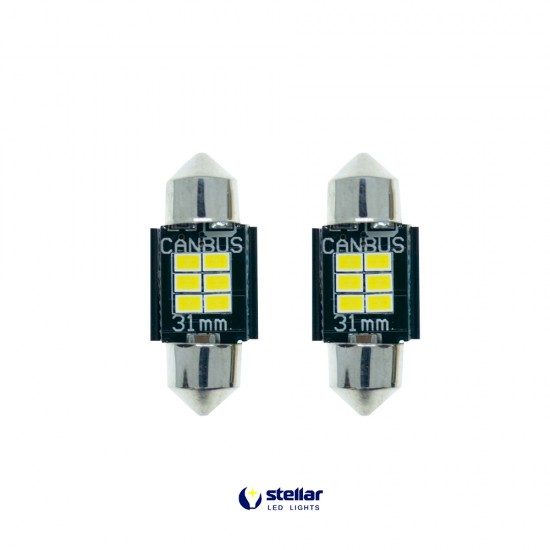 LED автолампы K6F STELLAR SV8,5(C10W) 31 мм с обманкой в подсветку номера и салона CAN BUS (1 шт.)