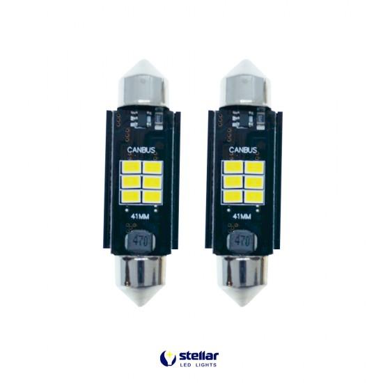 LED автолампы K6F STELLAR SV8,5(C10W) 41 мм с обманкой в подсветку номера и салона CAN BUS (1 шт.)