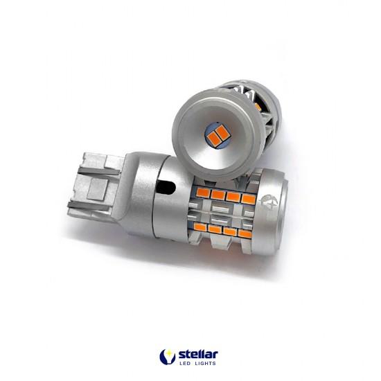 LED автолампа 7KG26 STELLAR цоколь W21W/5W/7443 в повороты + резистор CAN BUS Amber желтый (1 шт.)
