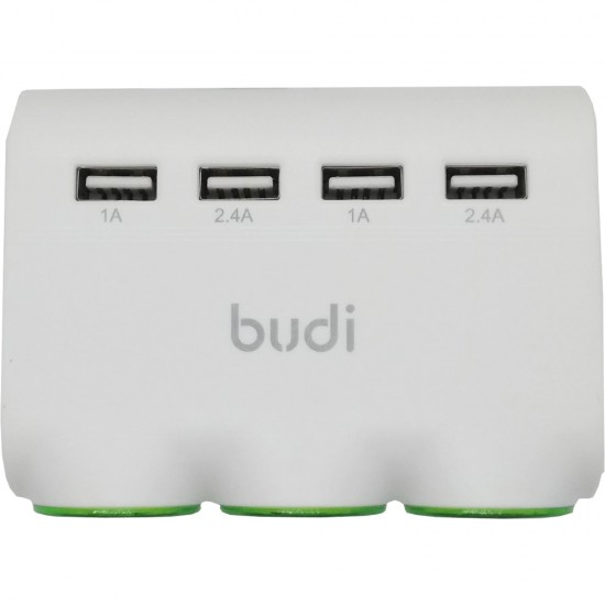 Тройной разветвитель прикуривателя Budi + 4 USB (M8J650)