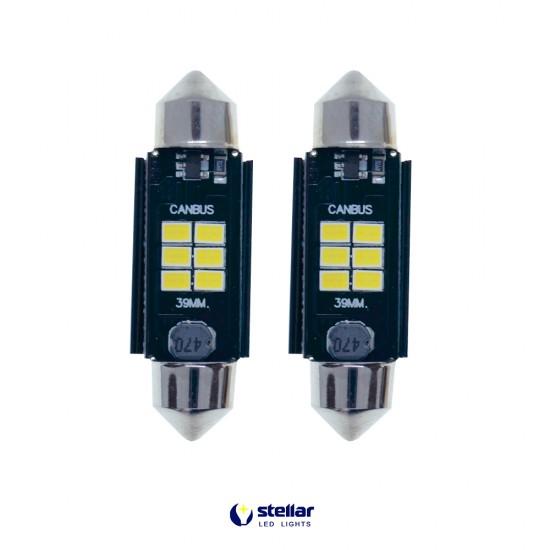 LED автолампы K6F STELLAR SV8,5(C10W) 39 мм с обманкой в подсветку номера и салона CAN BUS (1 шт.)
