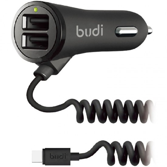 Автомобильное зарядное устройство Budi  Type-C cable 1.8 m + 2USB 3.4A Black (M8J068T)