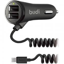 Автомобильное зарядное устройство Budi Lighting  cable 1.8 m + 2USB 3.4A Black (M8J068L)