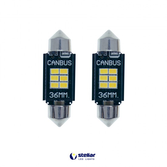 LED автолампы K6F STELLAR SV8,5(C10W) 36 мм с обманкой в подсветку номера и салона CAN BUS (1 шт.)