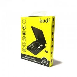 Набор кабель Budi + беспроводная зарядка - Type C, Lighting, Micro USB