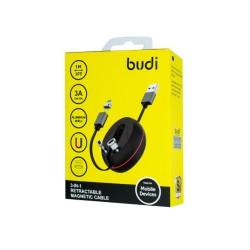 Выдвижной магнитный кабель Budi 3в1 USB-Lightning;Type-C;MiroUSB (M8J517)