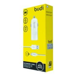 Автомобильное зарядное устройство BUDI (M8J062M) micro USB 2.4A + Type C cable 1.2 m White