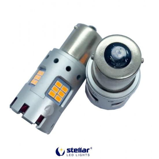 LED автолампа 8KG24F STELLAR цоколь P21W/1156 в поворот CAN BUS Amber желтый 180° (1 шт.)