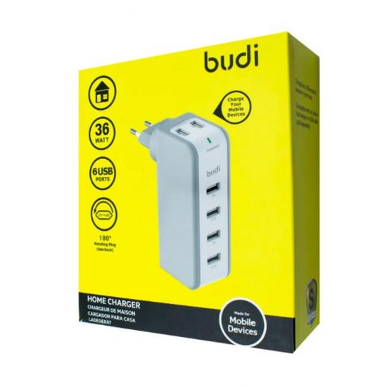 Зарядное устройство Budi (M8J301ET) 4 порта: PD Type-C / быстрая зарядка 3.0 / 2USB 12W 2.4A