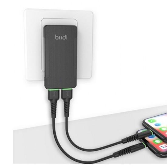 Зарядное устройство Budi (M8J321E) 2 USB / заглушка (US, EU, UK)