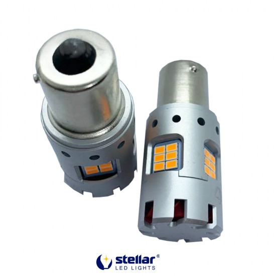 LED автолампа 8KG24F STELLAR цоколь P21W/1156 в поворот CAN BUS Amber желтый 150° (1 шт.)