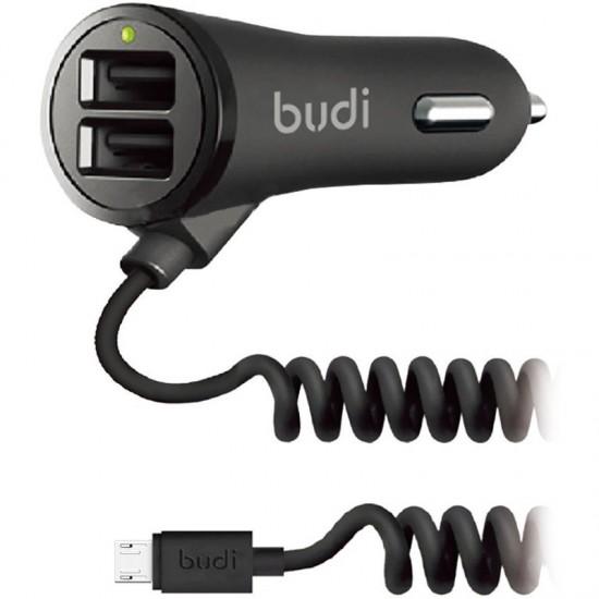 Автомобильное зарядное устройство Budi MicroUSB cable 1.8 m + 2USB 3.4A Black (M8J068M)